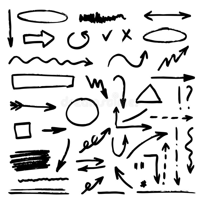Set of black hand drawn arrows. Illustration of black hand drawn arrows stock illustration