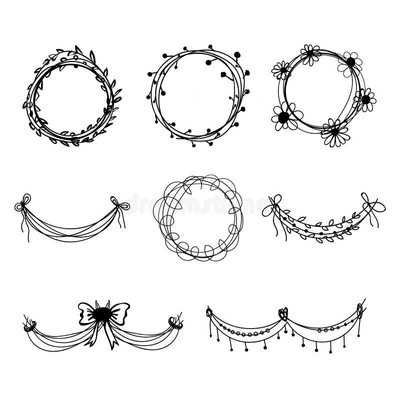 Set Of Black Flower Design Elements Vector Illustration: Set Of Black Hand-drawn Floral Design Elements Stock