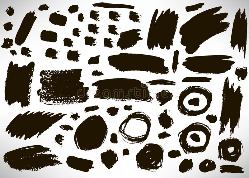 Set of black hand drawn grunge elements, geometrical shapes, dots, rings, circles, banners, brush strokes isolated. On white. Vector illustration vector illustration