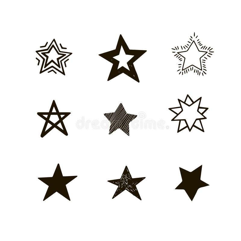 Set of black hand drawn vector stars in doodle style on white background. Could be used as pattern element vector illustration