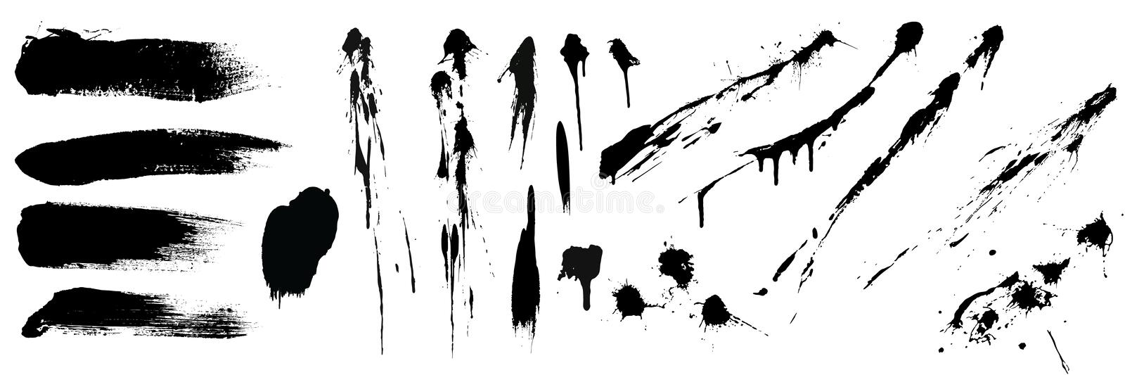 Set of black high detail brushe strokes and splashes. Vector collection stock illustration