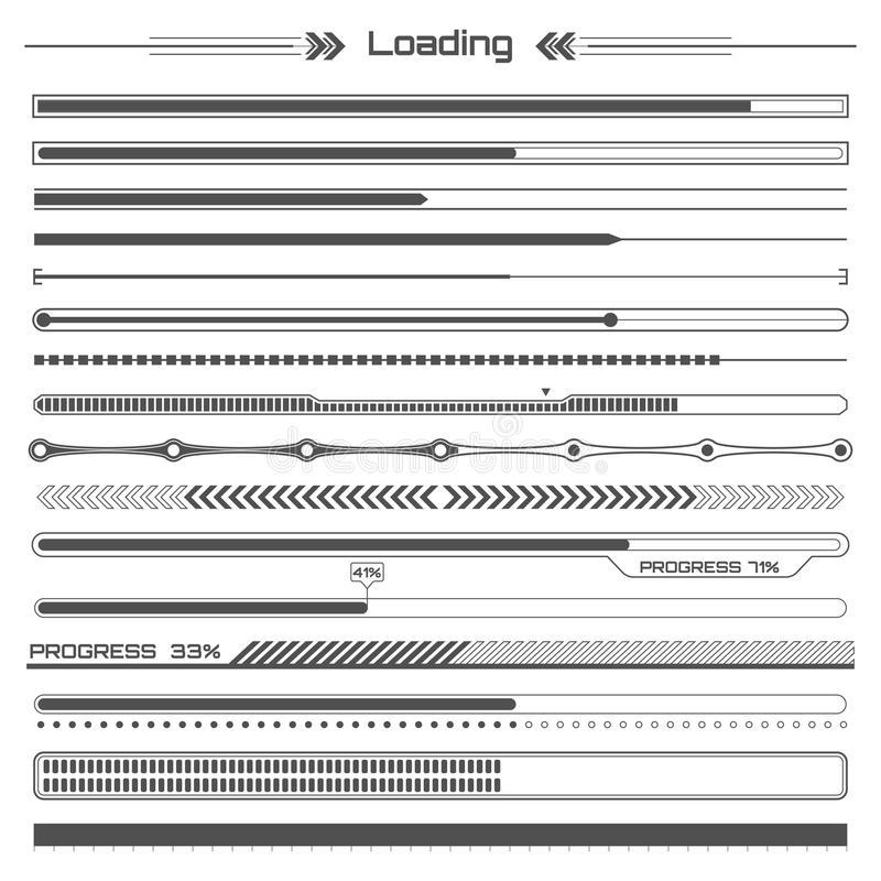 Set of black hud loading lines infographic elements. Futuristic user interface. Virtual graphic. Infographic elements. Set of black hud loading lines infographic vector illustration