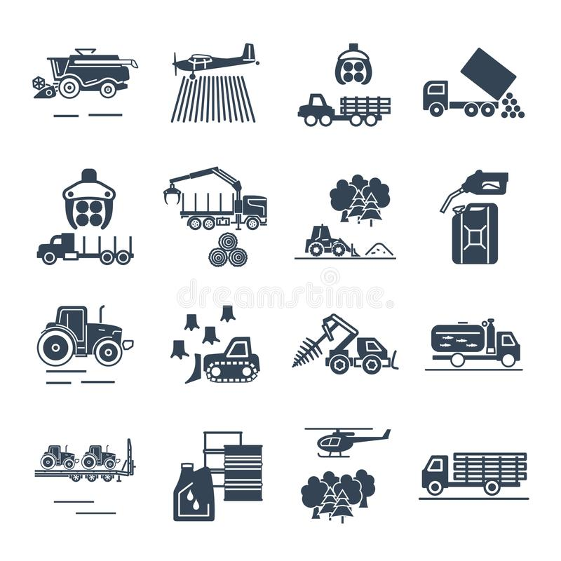 Set of black icons agricultural machinery, equipment, farming royalty free illustration