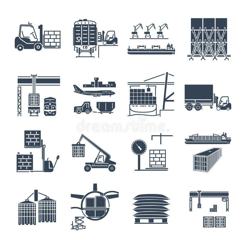 Set of black icons air, sea, rail freight terminal. Storage stock illustration