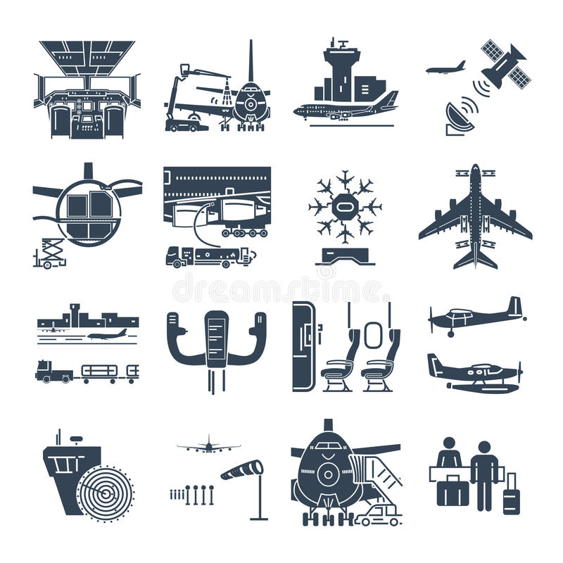 Set of black icons airport and airplane, control tower royalty free illustration