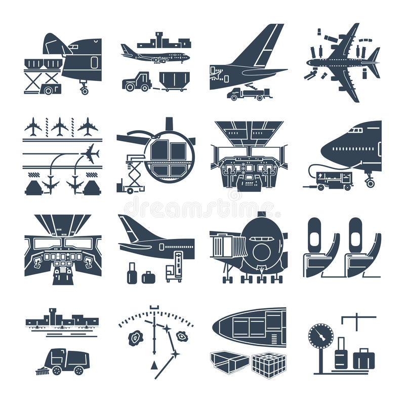 Set of black icons airport and airplane, freight stock illustration