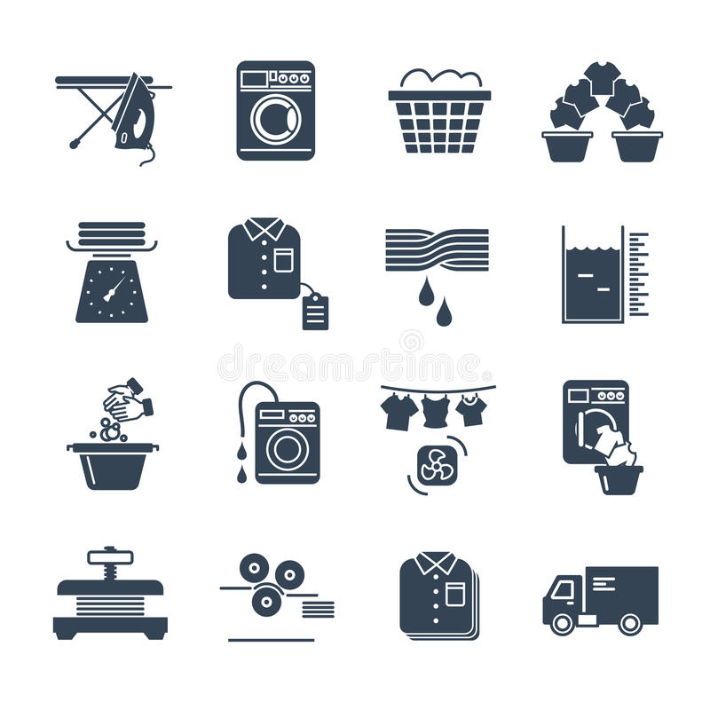 Set of black icons laundry service production. Process vector illustration