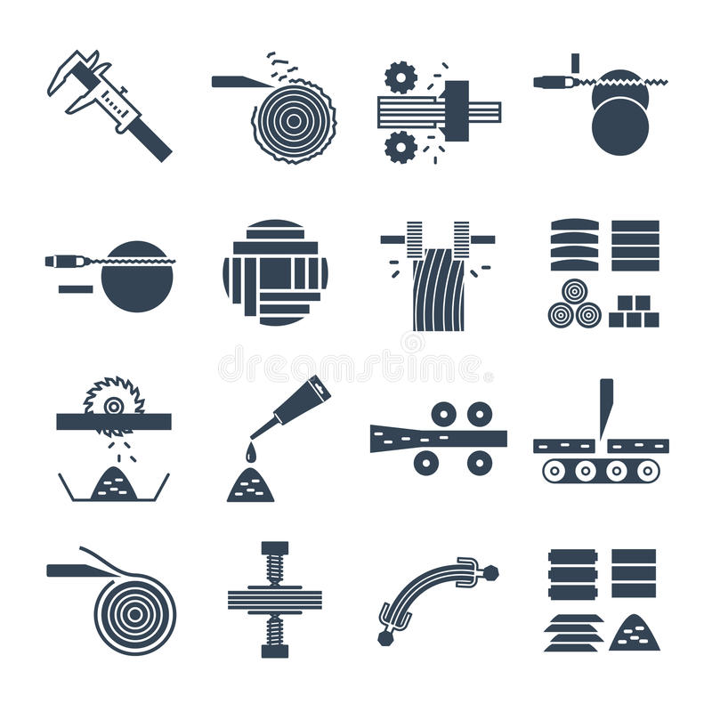 Set of black icons manufacture of wood production process stock illustration