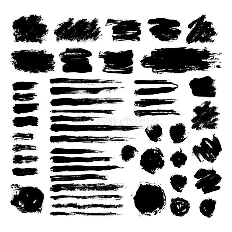 Set of black ink brush strokes isolated on white background. Hand drawn stains for backdrops. Grunge artistic brushes vector illustration
