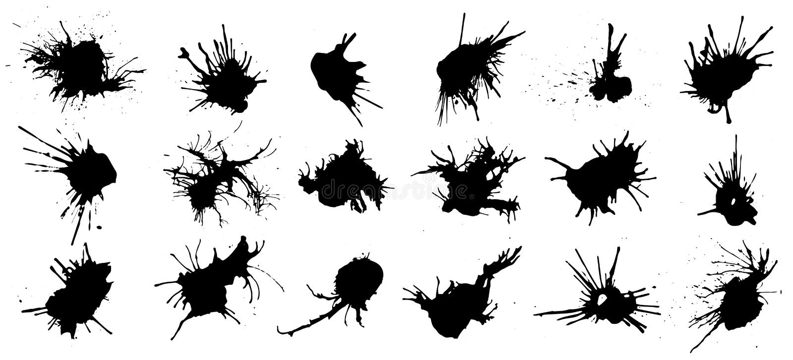 Set of black ink splashes and drops. Different handdrawn spray design elements. Blobs and spatters. Isolated vector. Illustration royalty free illustration