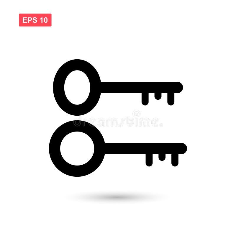 Set of black key icon vector isolated 1. Eps10 stock illustration