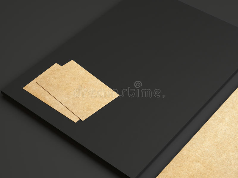 Set of black and kraft identity elements on paper background. Set of branding elements on paper background royalty free stock photography