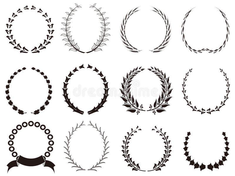 Set of black Laurel Wreaths royalty free illustration