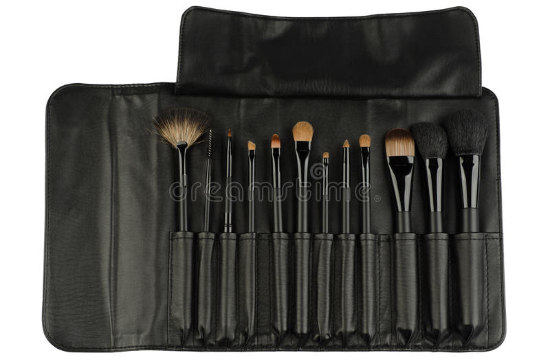 Download Set Of Black Makeup Brushes Isolated On White Stock Photo - Image: 23827878
