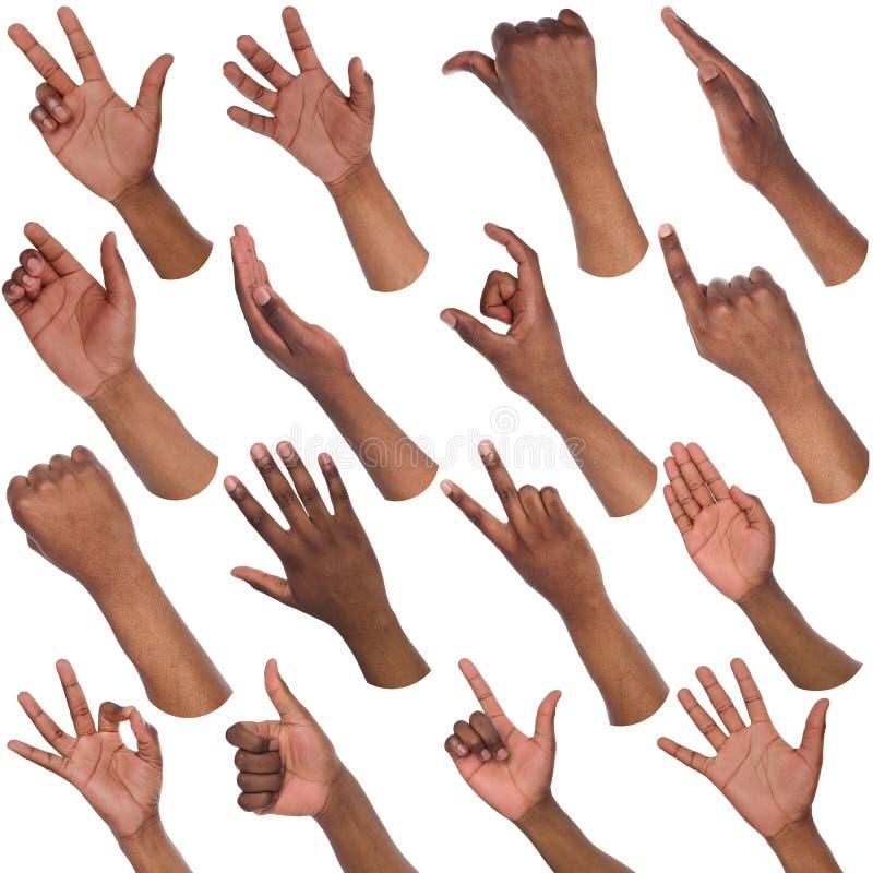 Set of black male hands showing symbols. African-american man hands showing symbols and gestures, like, offering, ok, writing, isolated on white background. Set stock photos
