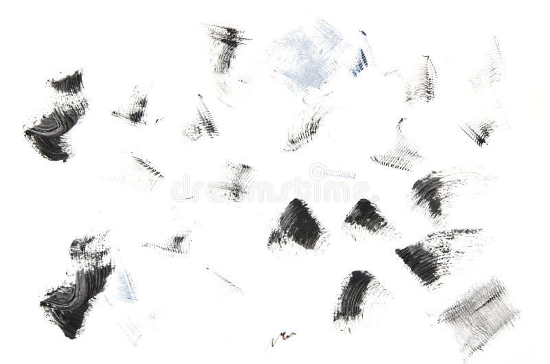 Set of black mascara strokes isolated on white background. royalty free stock photography