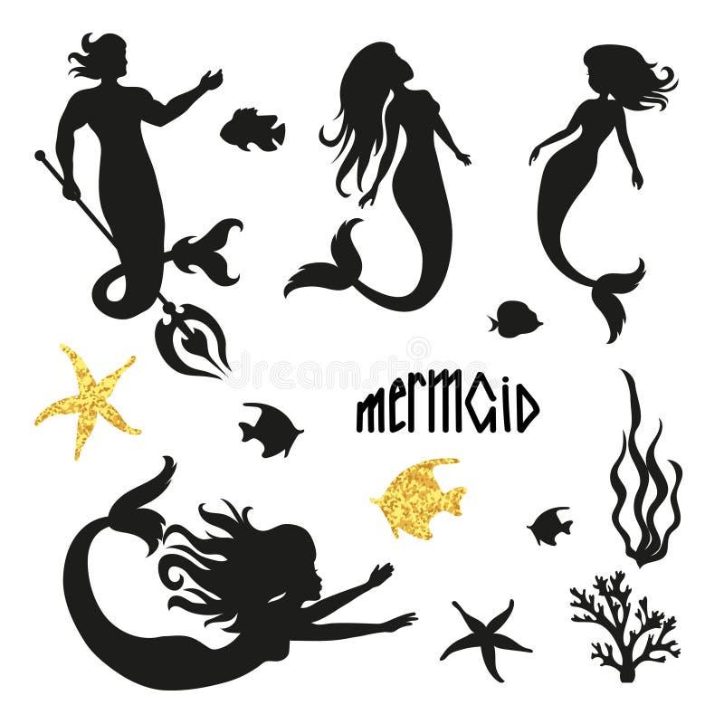 Set of black mermaid silhouettes isolated on white. stock illustration