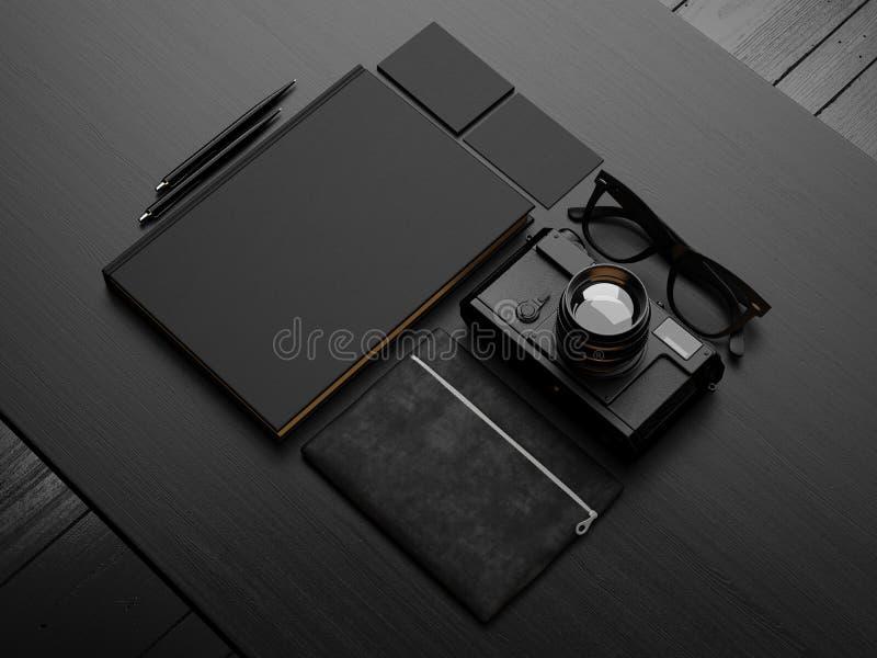 Set of black mockup. 3d render. Set of black identity elements on black background stock illustration