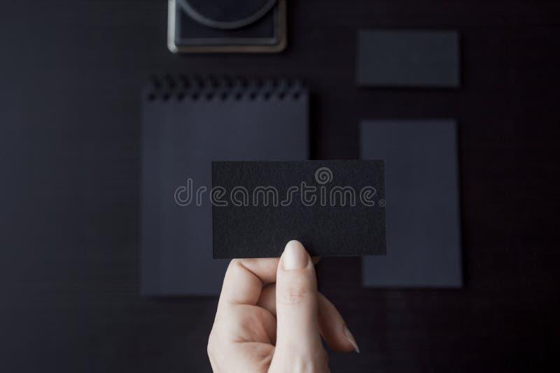 Set of black mockups on dark background, female royalty free stock images