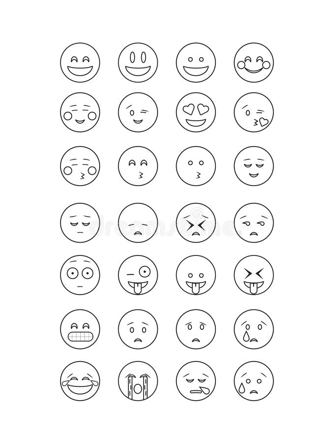 set of black outline emoticon vector isolated on white