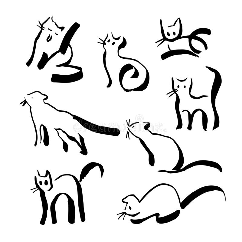 Set of black outline line cats in hand drawn style. royalty free stock images