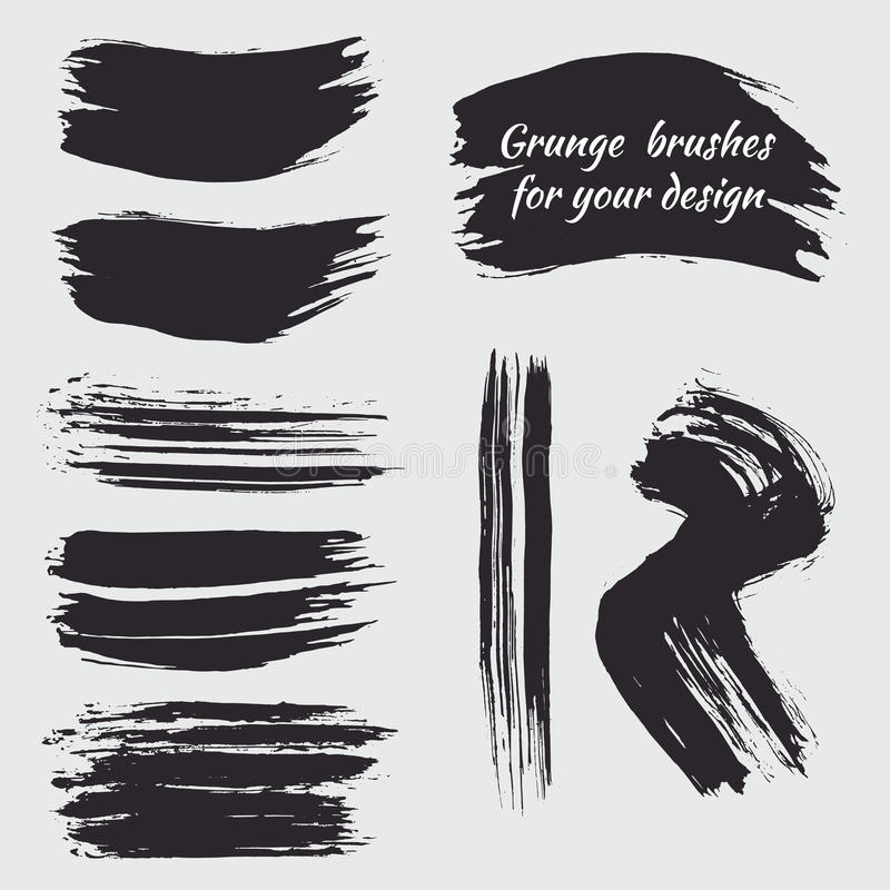 Set of black paint ink brushes, lines and circle. Grunge artistic banners, frames, stickers, backgrounds, boxes, frames for text stock illustration