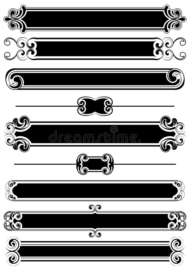 Set of black panels and rule lines royalty free illustration