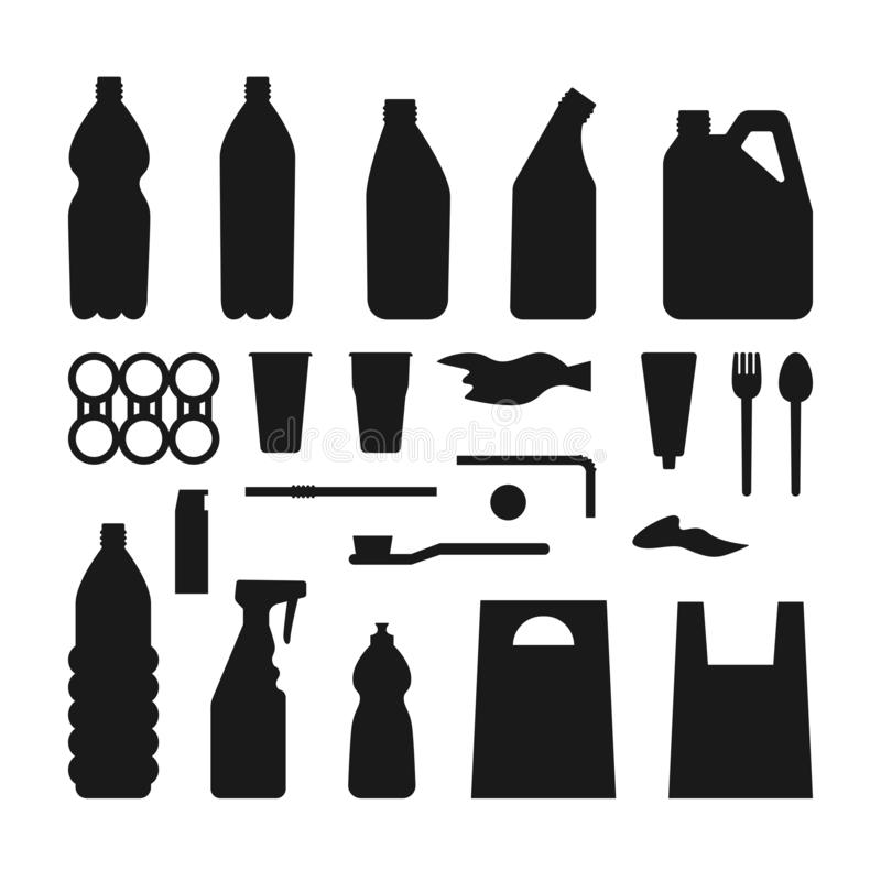 Set of black plastic objects on white background. Silhouette of plastic garbage Bottle, bag, straw, spoon, fork. Plastic pollution royalty free illustration