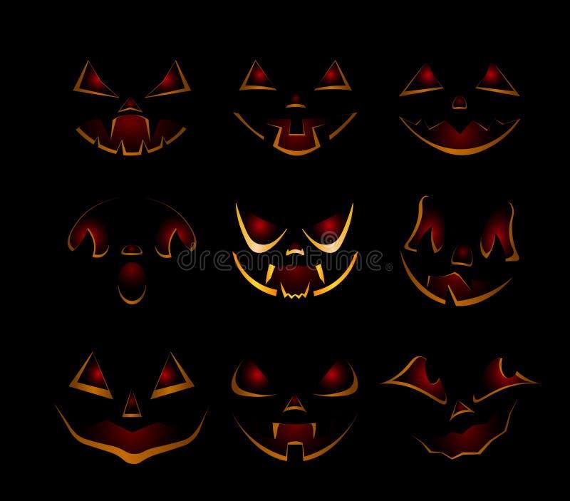 Set of black pumpkins for Halloween stock illustration