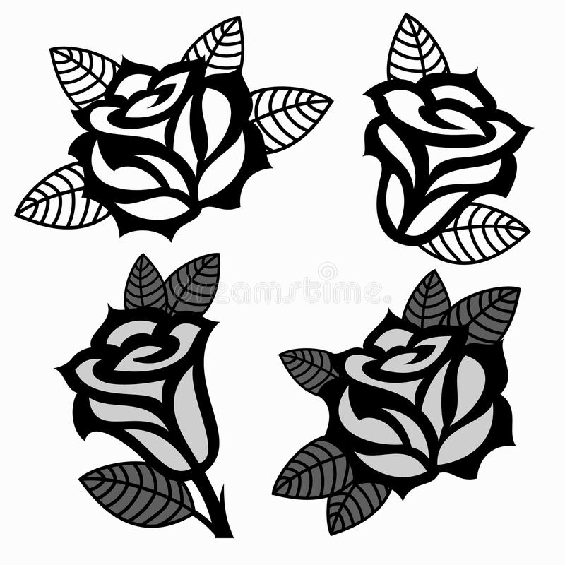 Set Of Black Roses Templates Designs. Stock Vector - Illustration of ...