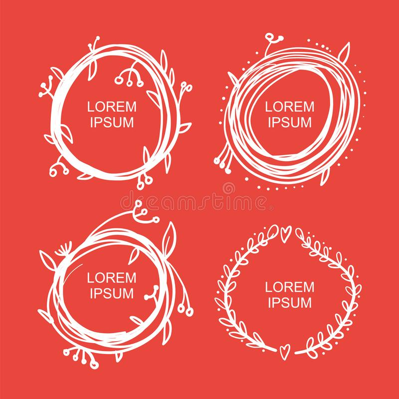Set of black round and square vintage frames, design elements hand drawn vector illustration stock illustration