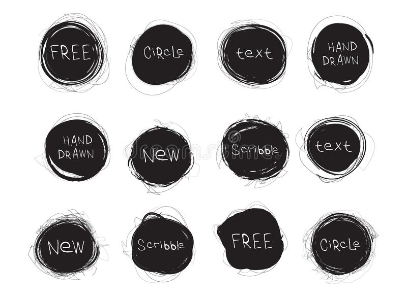 Set of black round stains isolated on white background. Hand drawn scribble circles. Vector logo stock illustration