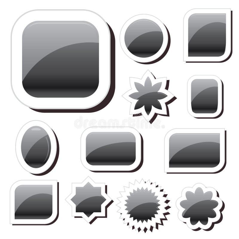 Set of black shiny badges, black speak tags. Set of black shiny glossy badges, black speak tags, best glitter labels, vector illustration, black pin button stock illustration