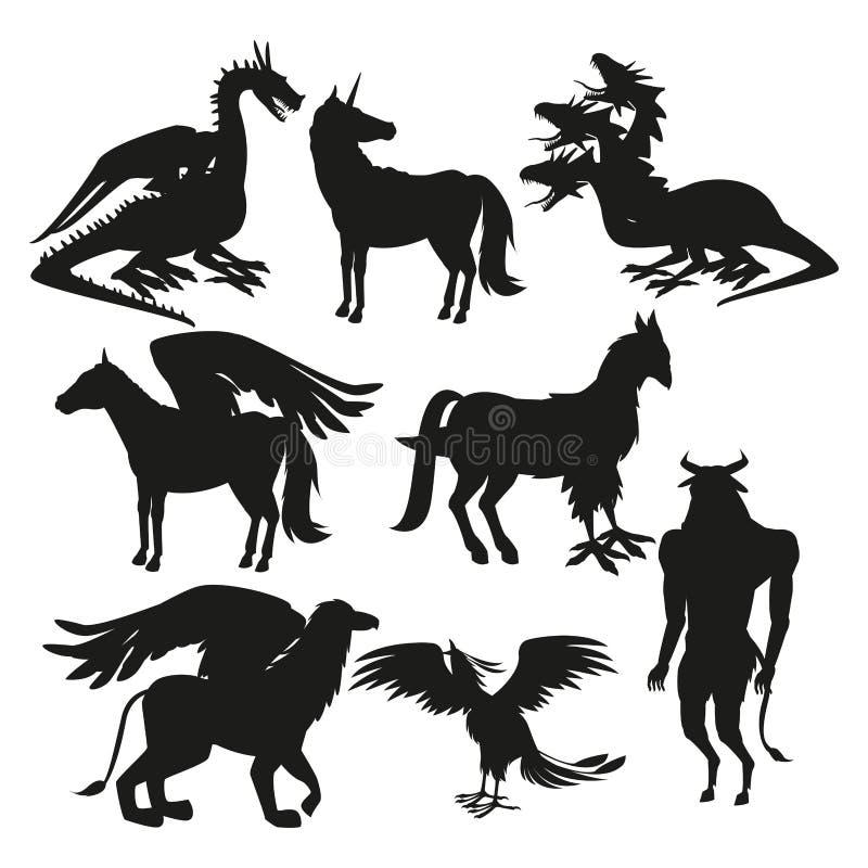 Free Set Black Silhouette Animal Greek Mythological Creatures Stock Photo - 110794660