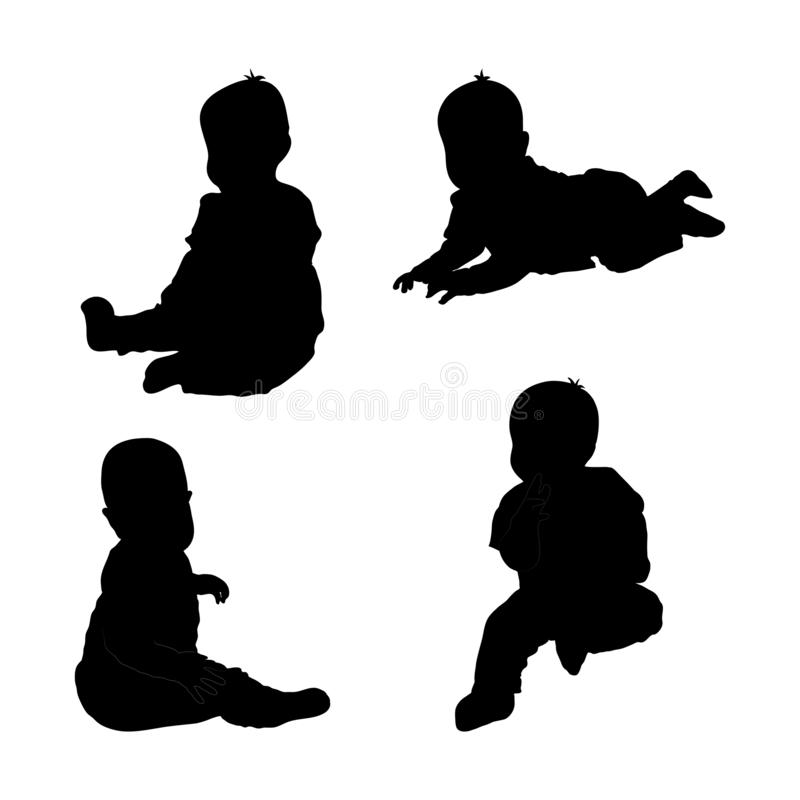 Set of black silhouette of child baby boy. On white background. Collection various pose. sits, plays, lying. Elements for design, children s store,. Vector stock illustration