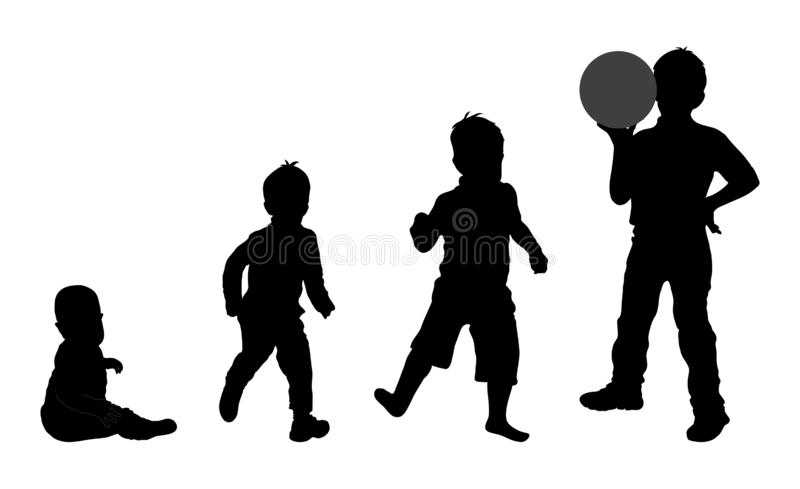 Set of black silhouette of child, baby boy on white background. vector illustration