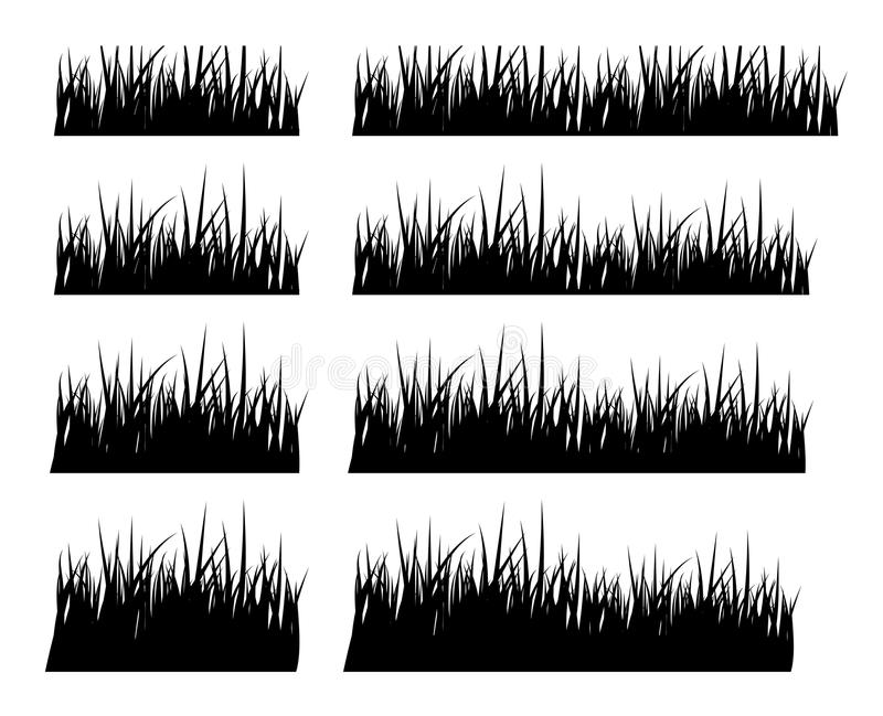 Set of black silhouette grass in different height vector illustration