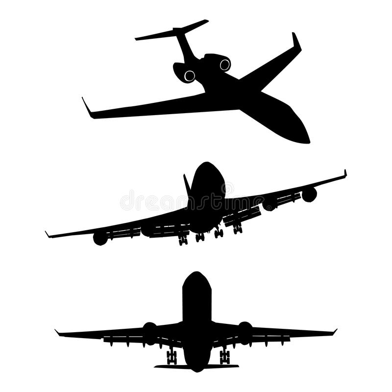 Set of black silhouette three airplanes. Set of three black silhouette of airplanes vector illustration