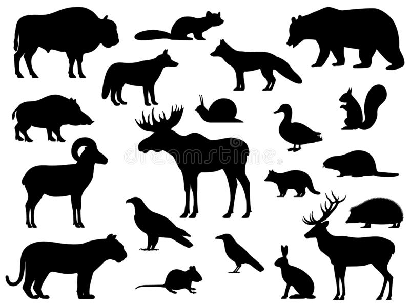 Set of black silhouette wild forest steppe animals royalty free illustration