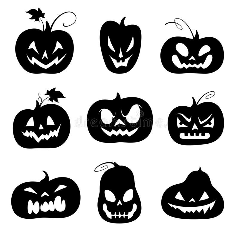 Set of black silhouettes of carved pumpkins for Halloween. Vector illustration stock illustration