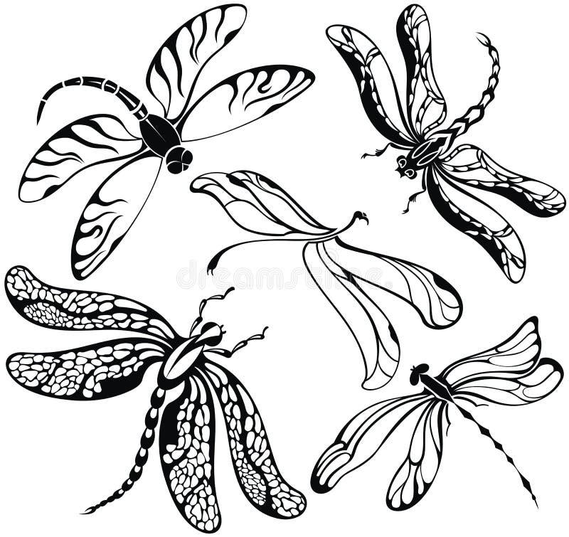 Set of decorative silhouettes dragonflies stock illustration