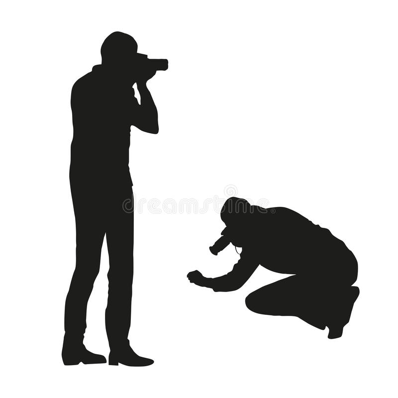 Download Set Of Black  Silhouettes Of A Photographer - Man In Different Poses, Isolated Stock Vector - Illustration: 92630127
