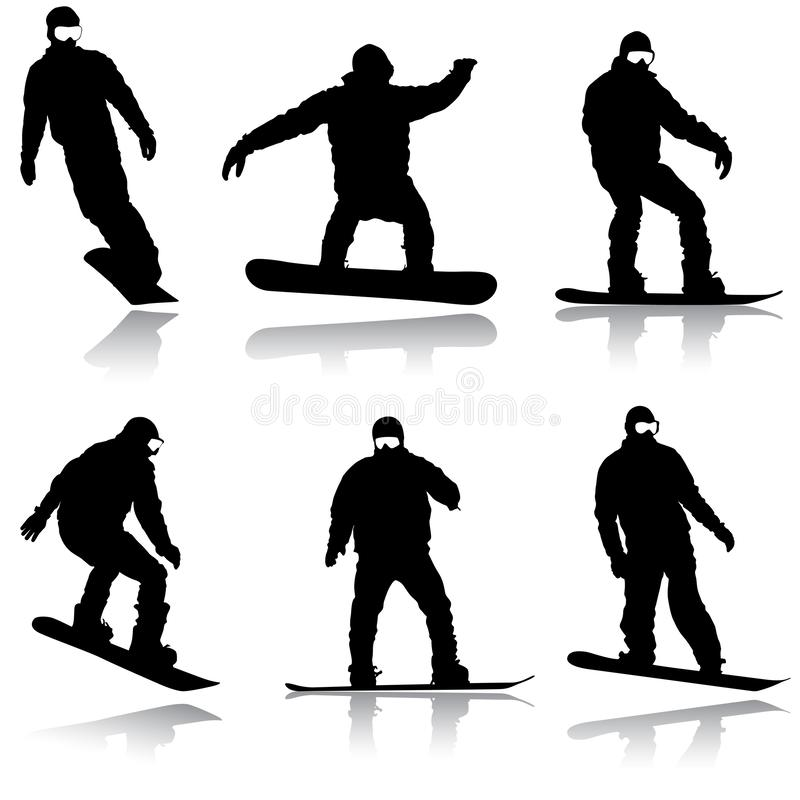 Set black silhouettes snowboarders on white background. Vector royalty free stock images