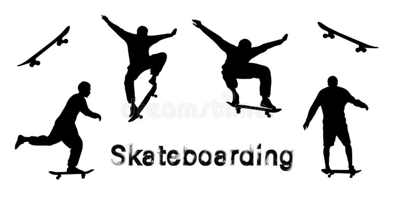 Set of black skateboarder silhouettes. Skate trick ollie. Grunge style textured text stock illustration