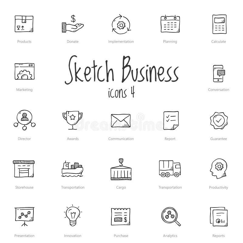 Set of black sketch business icons stock illustration