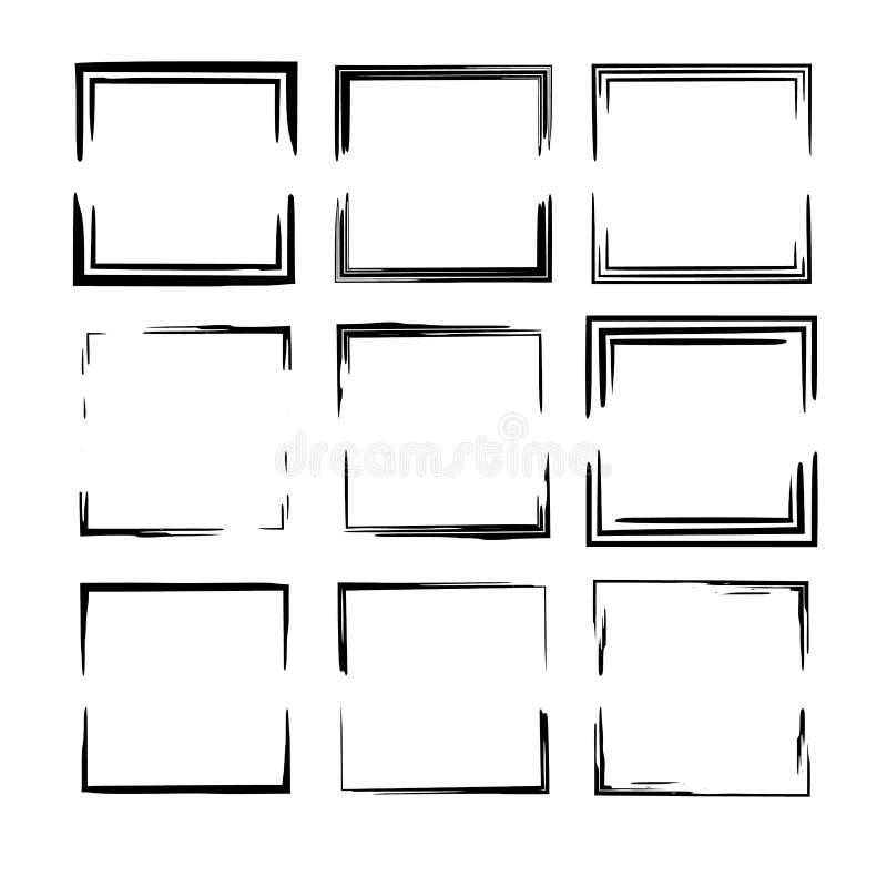 Set of black empy grunge frames. Vector illustration. vector illustration