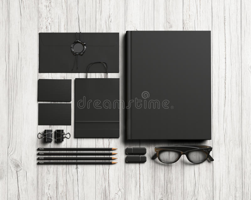 Set of black stationery elements stock photos