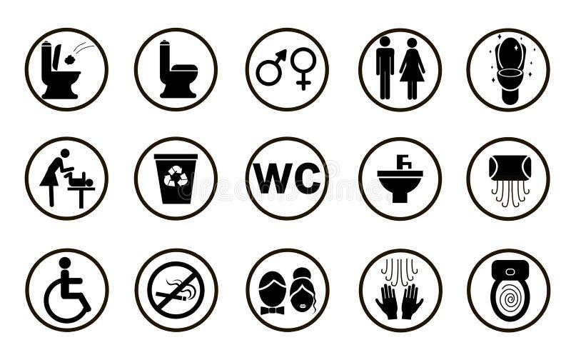 Set black toilet icons isolated on white background vector illustration