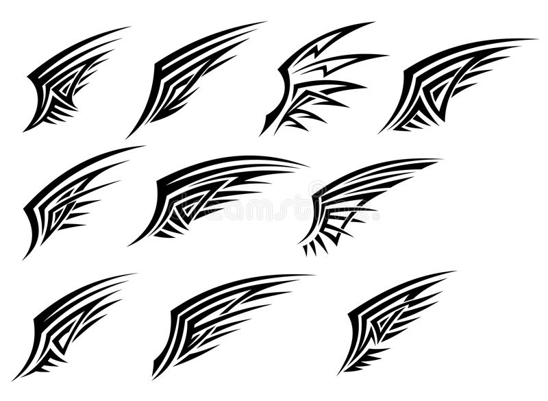 Set of black tribal wing tattoos stock illustration
