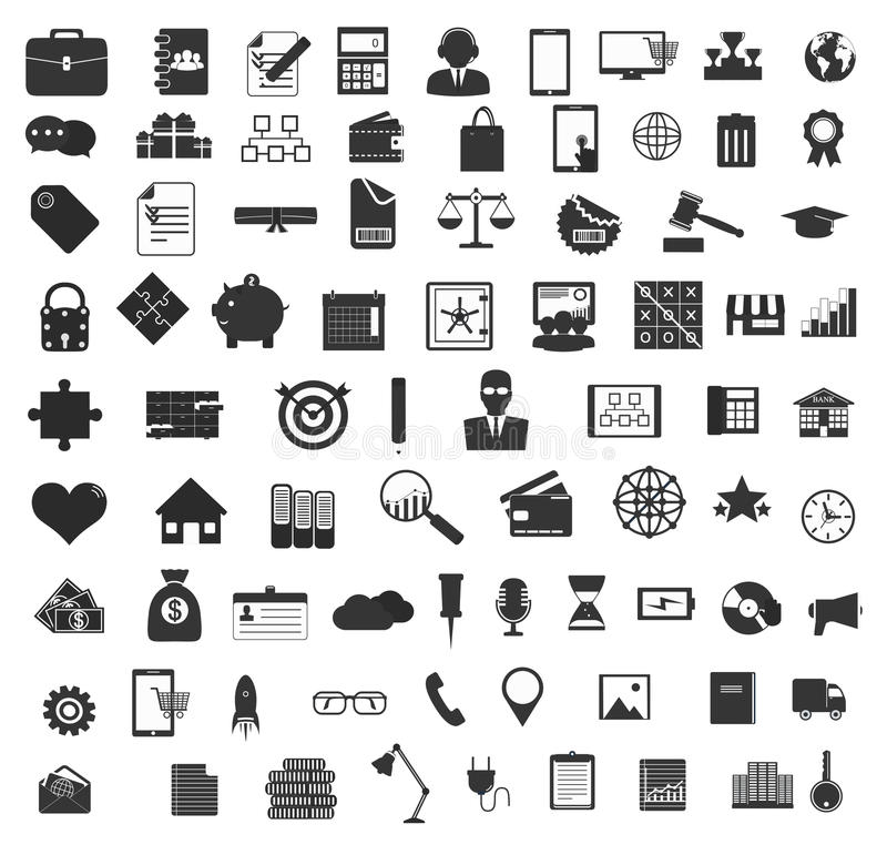 Set of black universal web and mobile icons. stock illustration